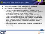 rendering applications data transfer