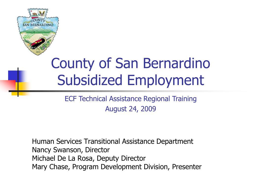 county of san bernardino subsidized employment l.