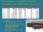 performance of forward earthquake modeling code on psc terascale system
