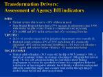 transformation drivers assessment of agency bh indicators4