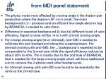 from mdi panel statement