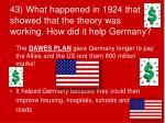 43 what happened in 1924 that showed that the theory was working how did it help germany