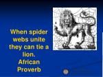 when spider webs unite they can tie a lion african proverb