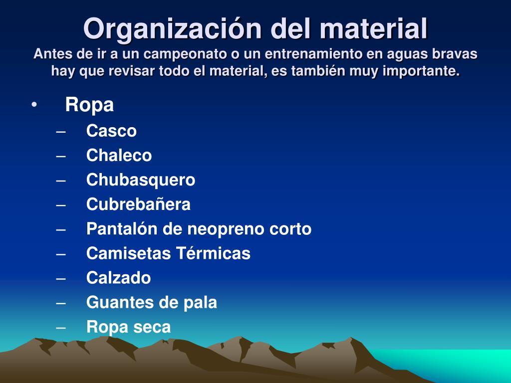 Organización del material