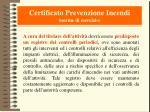certificato prevenzione incendi norme di esercizio
