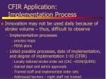 cfir application implementation process