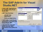 the sap add in for visual studio net