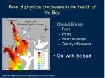 role of physical processes in the health of the bay4