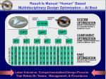 result is manual human based multidisciplinary design optimization at best