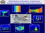 within modules disciplines sophisticated simulation based design systems have evolved