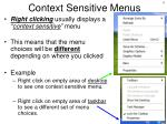 context sensitive menus