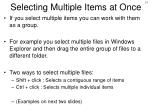 selecting multiple items at once