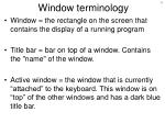 window terminology