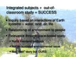integrated subjects out of classroom study success