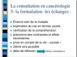 la consultation en canc rologie 5 la formulation les changes