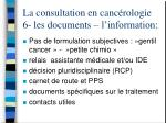 la consultation en canc rologie 6 les documents l information