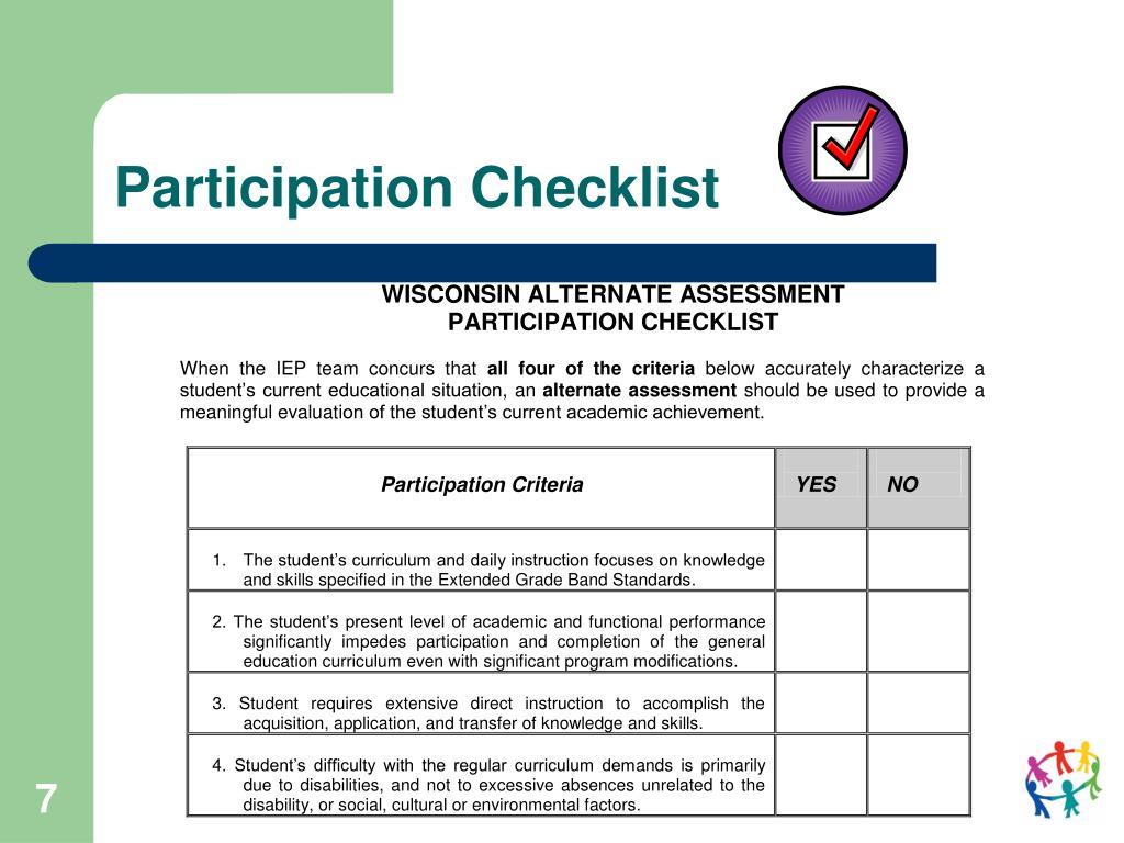 Participation Checklist