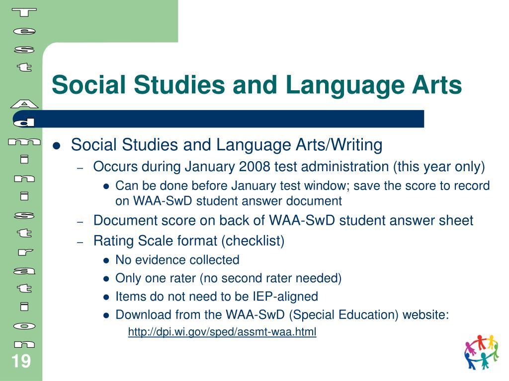 Social Studies and Language Arts