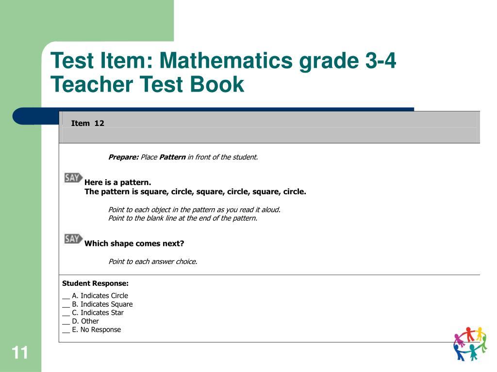 Test Item: Mathematics grade 3-4