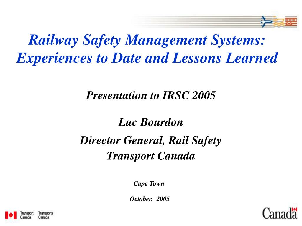 railway safety management systems experiences to date and lessons learned l.