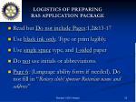 logistics of preparing ras application package