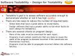 software testability design for testability