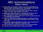 abc recommendations freight traffic