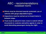 abc recommendations passenger traffic