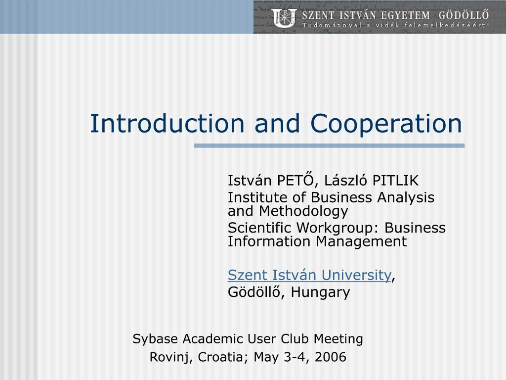 introduction and cooperation l.