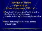 isch mie et l sions myocardique comparaison groupe tnic et