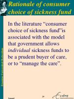 rationale of consumer choice of sickness fund