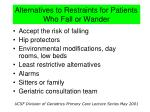 alternatives to restraints for patients who fall or wander