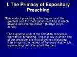 i the primacy of expository preaching
