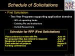 schedule of solicitations
