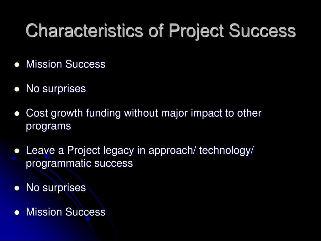 Characteristics of Project Success
