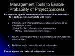 management tools to enable probability of project success14