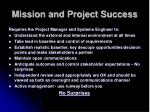 mission and project success