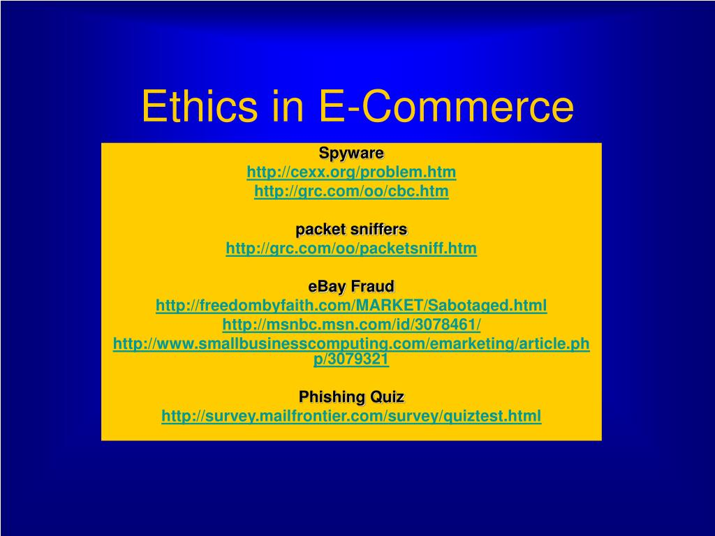 ethics in e commerce l.