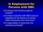 is employment for persons with smi