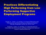 practices differentiating high performing from low performing supportive employment programs