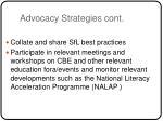 advocacy strategies cont