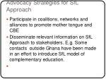 advocacy strategies for sfl approach