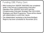 funding cbe policy cont