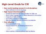 high level goals for cir