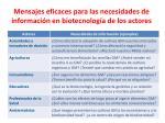 mensajes eficaces para las necesidades de informaci n en biotecnolog a de los actores