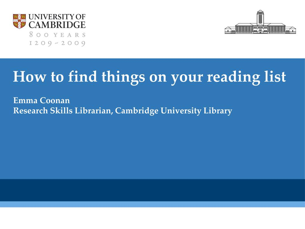 how to find things on your reading list l.
