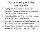 tips on working with the transition plan