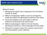 health topic research plan