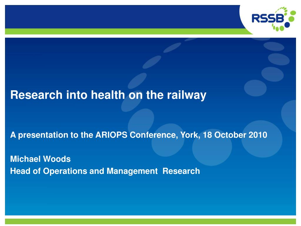 research into health on the railway l.