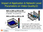 impact of application network level parameters on video quality 2